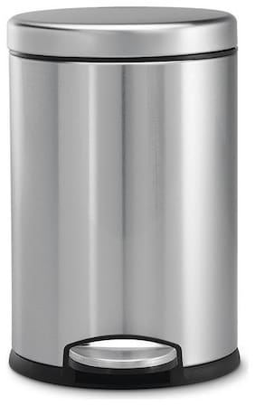 Mofna Industries Stainless Steel Plain Pedal Dustbin/Plain Pedal Garbage Bin with Plastic Bucket-8X12- 7 Liter Set of 1 Pcs Silver Color