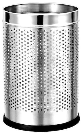 Mofna Stainless Steel 10 Ltr Perforated dustbin  Garbage Bin Trash can Round Shape Silver Color (Set of 1) Slim and Fingerprint-Proof Finish Diameter x Height- (8X12 inch)