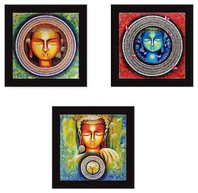 Molika Budha Wooden Printed Multi Digital Budh Wall Print & Painting ( (set Of 3) )