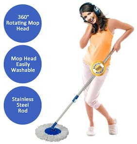 Rapidora Mop 360° Spin Cleaning Stainless Steel Rod/Handle/Stick Set with 1 Refill