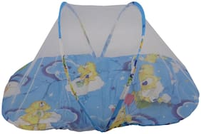 Mopi Baby Bedding Bed With Mosquito Net & Cute Pillow ( Blue Pattern)