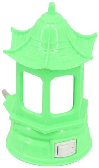 Mopi LED Night Lamp Plug-in Wall Cute Home Shape - Green - Kids Room Home Decor Energy Saving Night Lamp  (11 cm, Green)