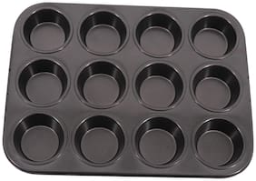 Mopi Non Stick 12 Slot Cup Shaped cake Mould Of Muffinf Tray (Pack Of 1)-Black