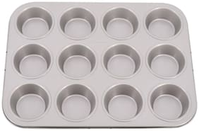Mopi Non Stick 12 Slot Cup Shaped cake Mould Of Muffin Tray (Pack Of 1)-Silver