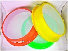 Mopi Plastic Aatta Chalni  (set of 3) - Colours may very