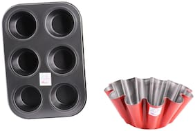 Mopi Red Cake Mould With 6 Cup/Cake Muffin Tray (Pack Of 2)