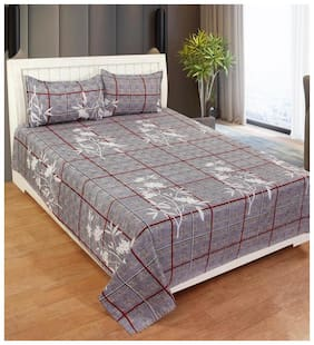 Morado Cotton Checkered Double Size Bedsheet 400 TC ( 1 Bedsheet With 2 Pillow Covers , Grey )