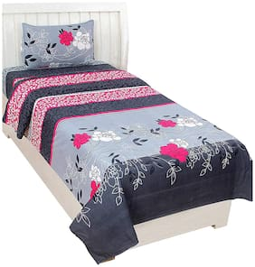 Morado Cotton Floral Single Size Bedsheet 200 TC ( 1 Bedsheet With 1 Pillow Covers , Grey )