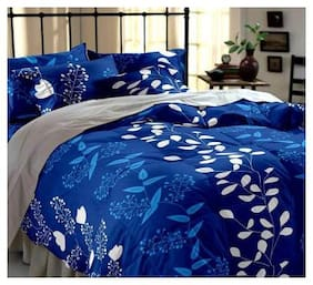 Morado Cotton 3D Printed Double Size Bedsheet 144 TC ( 1 Bedsheet With 2 Pillow Covers , Blue )