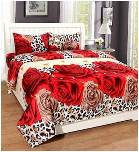 Morado Cotton Floral Double Size Bedsheet 200 TC ( 1 Bedsheet With 2 Pillow Covers , Red )