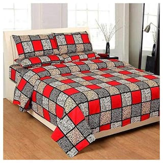 Morado Microfiber Checkered Double Size Bedsheet 125 TC ( 1 Bedsheet With 2 Pillow Covers , Multi )
