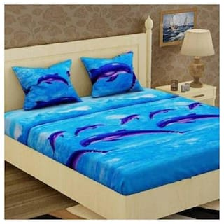 Morado Cotton 3D Printed Double Size Bedsheet 200 TC ( 1 Bedsheet With 2 Pillow Covers , Blue )