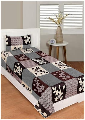Morado Cotton Geometric Single Size Bedsheet 200 TC ( 1 Bedsheet With 1 Pillow Covers , Brown )