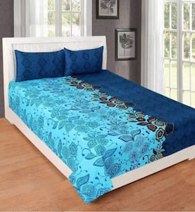 Morado Cotton Floral Double Size Bedsheet 180 TC ( 1 Bedsheet With 2 Pillow Covers , Blue )