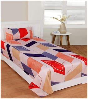 Morado Cotton Geometric Single Size Bedsheet 400 TC ( 1 Bedsheet With 1 Pillow Covers , Cream )