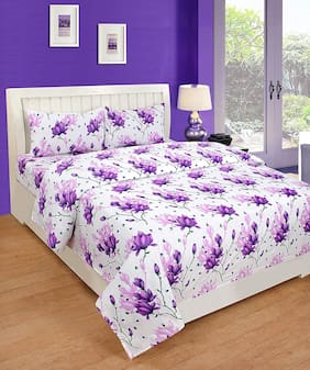 Morado Cotton Floral Double Size Bedsheet 180 TC ( 1 Bedsheet With 2 Pillow Covers , Purple )