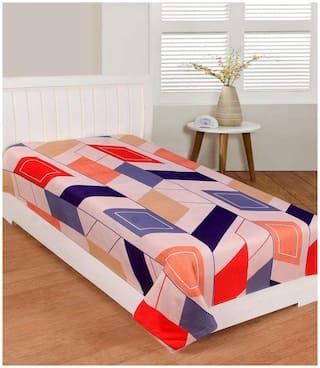 Morado Cotton Geometric Single Size Bedsheet 400 TC ( 1 Bedsheet Without Pillow Covers , Cream )
