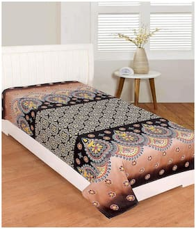 Morado Cotton Floral Single Size Bedsheet 400 TC ( 1 Bedsheet Without Pillow Covers , Brown )