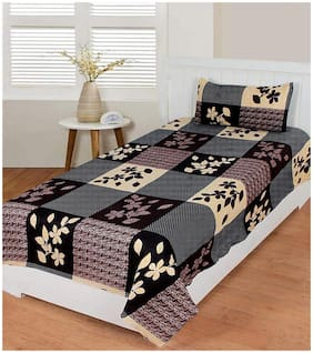 Morado Cotton Floral Single Bedsheet ( 1 Bedsheet With 1 Pillow Covers , Brown )