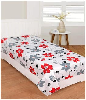 Morado 400 TC Floral Flat Single Bedsheet ( White , Pack of 1 )