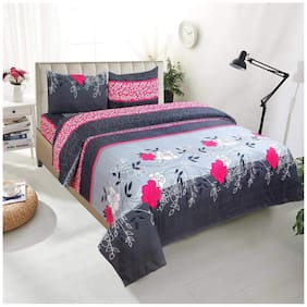 Morado Microfiber Floral Double Size Bedsheet 104 TC ( 1 Bedsheet With 2 Pillow Covers , Multi )