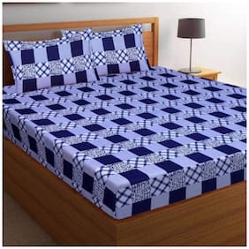 Morado Cotton Checkered Double Size Bedsheet 180 TC ( 1 Bedsheet With 2 Pillow Covers , Blue & White )