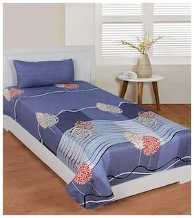 Morado Microfiber Floral Single Size Bedsheet 125 TC ( 1 Bedsheet With 1 Pillow Covers , Blue )