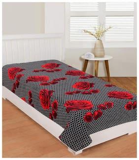 Morado Microfiber Floral Single Size Bedsheet 104 TC ( 1 Bedsheet Without Pillow Covers , Black )