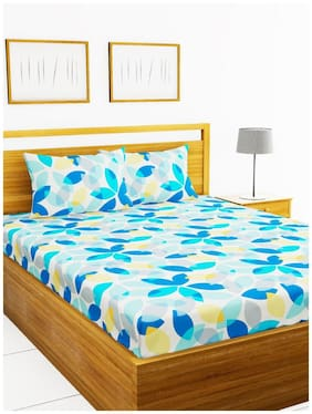 Morado Cotton Floral Double Size Bedsheet 200 TC ( 1 Bedsheet With 2 Pillow Covers , Multi )