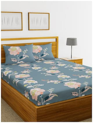 Morado Cotton Floral Double Size Bedsheet 200 TC ( 1 Bedsheet With 2 Pillow Covers , Grey )