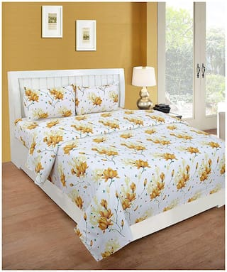 Morado Cotton Floral Double Size Bedsheet 180 TC ( 1 Bedsheet With 2 Pillow Covers , Off-white )