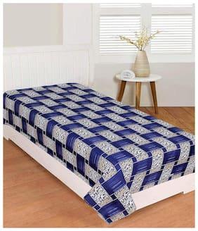 Morado Microfiber Checkered Single Size Bedsheet 104 TC ( 1 Bedsheet Without Pillow Covers , Blue )