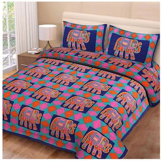 Morado Cotton Rajasthani Jaipuri Print Double Size Bedsheet 180 TC ( 1 Bedsheet With 2 Pillow Covers , Multi )