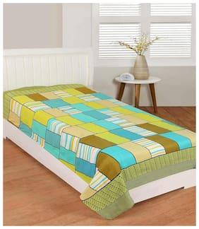 Morado Microfiber Checkered Single Size Bedsheet 104 TC ( 1 Bedsheet Without Pillow Covers , Green )