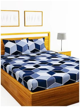 Morado Cotton Geometric Double Size Bedsheet 200 TC ( 1 Bedsheet With 2 Pillow Covers , Blue )
