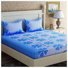 Morado Microfiber Floral Double Size Bedsheet 104 TC ( 1 Bedsheet With 2 Pillow Covers , Blue )
