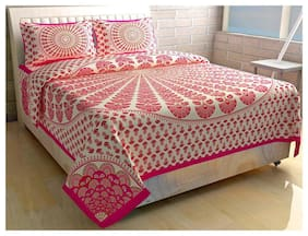 Morado Cotton Floral Double Size Bedsheet 144 TC ( 1 Bedsheet With 2 Pillow Covers , White & Pink )