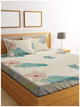Morado Microfiber Floral Double Size Bedsheet 125 TC ( 1 Bedsheet With 2 Pillow Covers , Off-white )