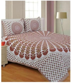 Morado Cotton Floral Double Size Bedsheet 144 TC ( 1 Bedsheet With 2 Pillow Covers , White & Brown )