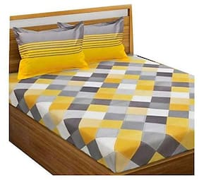 Morado Cotton Geometric Double Size Bedsheet 300 TC ( 1 Bedsheet With 2 Pillow Covers , Yellow )