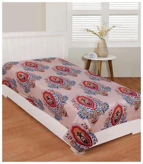 Morado Cotton Printed Single Size Bedsheet 104 TC ( 1 Bedsheet Without Pillow Covers , Brown )