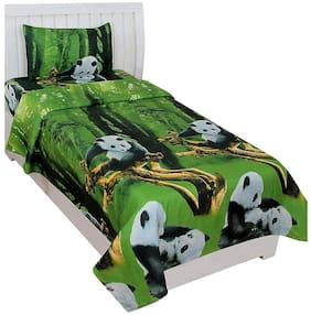 Morado Cotton Printed Single Size Bedsheet 200 TC ( 1 Bedsheet With 1 Pillow Covers , Green )
