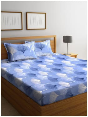 Morado Microfiber Floral Double Size Bedsheet 125 TC ( 1 Bedsheet With 2 Pillow Covers , Blue )