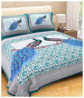 Morado Cotton Rajasthani Jaipuri Print Double Size Bedsheet 144 TC ( 1 Bedsheet With 2 Pillow Covers , Multi )