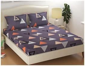 Morado Microfiber Geometric Double Size Bedsheet 125 TC ( 1 Bedsheet With 2 Pillow Covers , Multi )