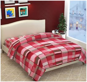 Morado Double Bed Woollen Fabric Quilt Cover / Duvet Cover / Rajai Cover / Blanket Cover for Winters (Pink)