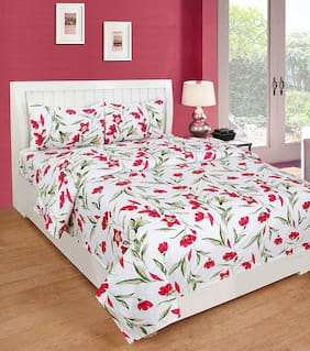 Morado Cotton Floral Double Size Bedsheet 180 TC ( 1 Bedsheet With 2 Pillow Covers , Pink )