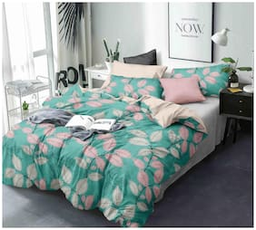 Morado Cotton Floral Double Size Bedsheet 144 TC ( 1 Bedsheet With 2 Pillow Covers , Green )