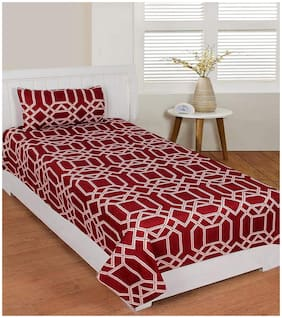 Morado Cotton Printed Single Size Bedsheet 400 TC ( 1 Bedsheet With 1 Pillow Covers , Maroon )
