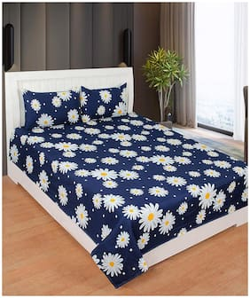 Morado Cotton Floral King Size Bedsheet 400 TC ( 1 Bedsheet With 2 Pillow Covers , Blue )